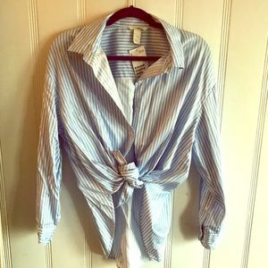 New H&M stripe light blue and white button blouse